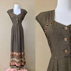 Vintage 80s RJ Stevens Boho Batik Print Maxi Dress